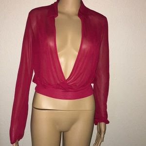 Red Express sheer blouse